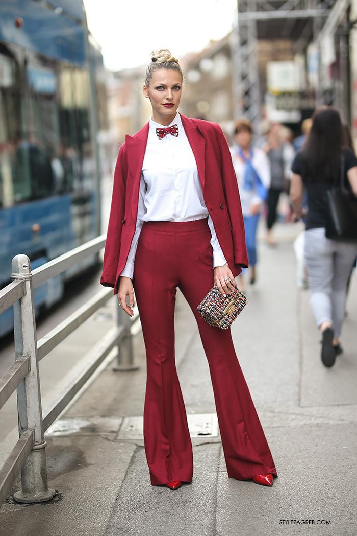 Lidija Lešić street style look crveno odijelo DeLight Zara Topshop Cocopat