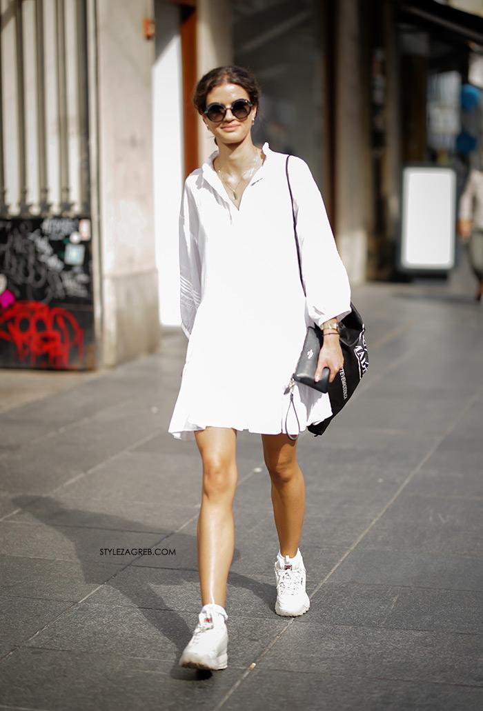 street style Melissa Ivana Strkalj Instagram moda jesen bijele retro Fila Disruptor tenisice 90te