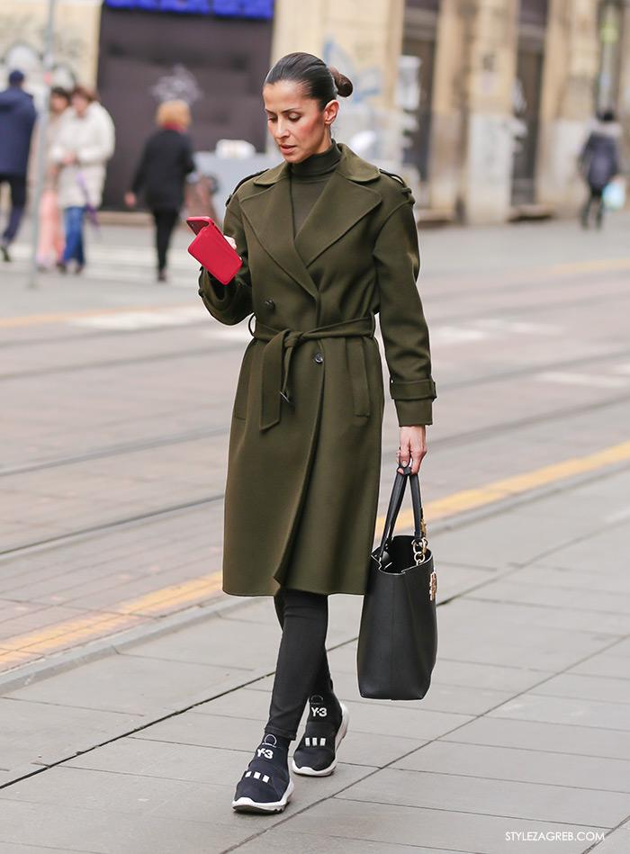 proljetni kaput zelena boja street style Zagreb