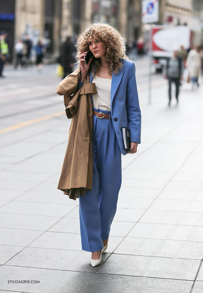 Melisa Sedić poslovni look plavo Zara odijelo kako nositi