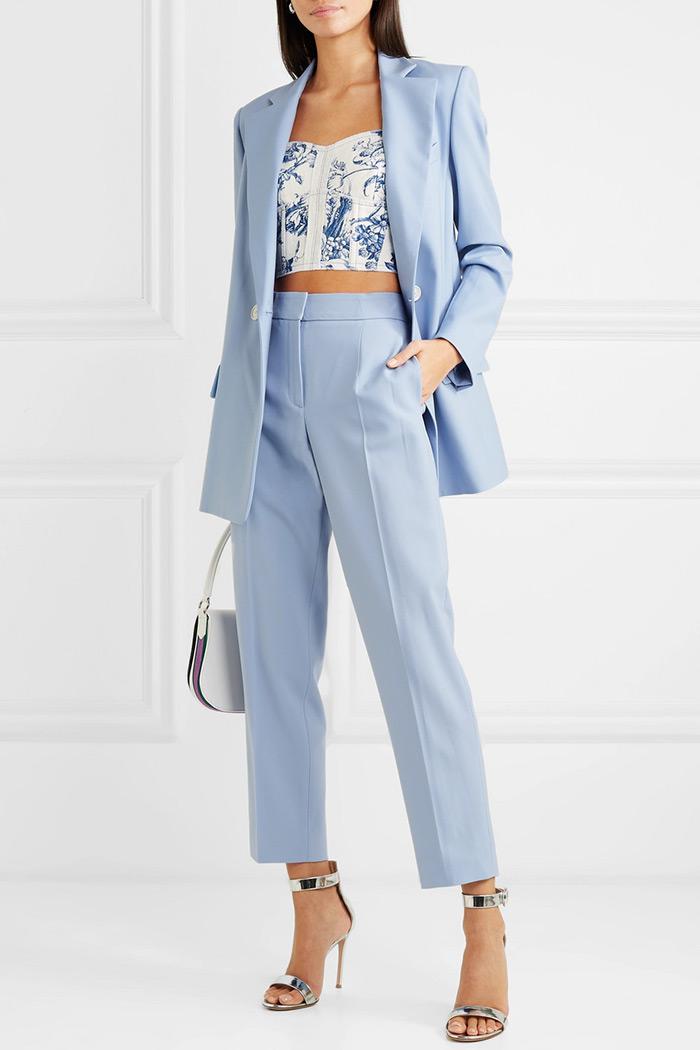 Oscar de la Renta baby blue suit blazer