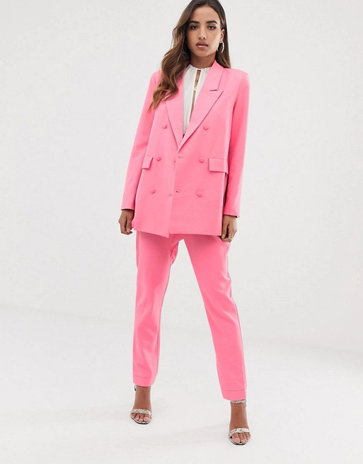 Asos pink suit blazer work outfit style co-ords