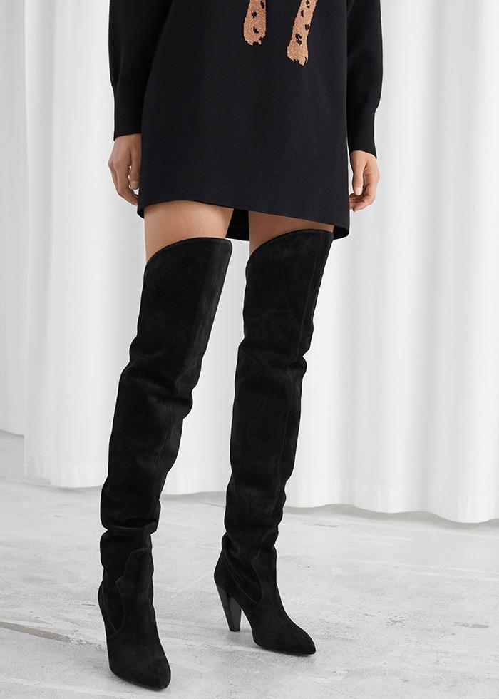 najbolje online trgovine u europi, asos obuća visoke crne čizme preko bedra