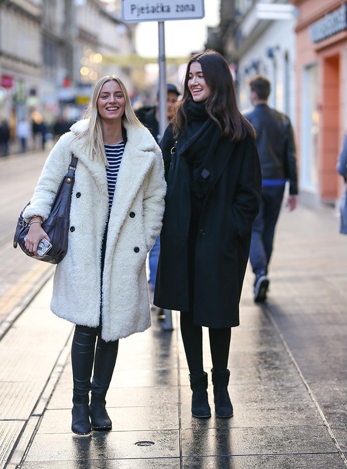 zimski street style outfiti zagrebačka špica prosinac 2019 street fashion zagreb black coat Isabel Marant, Abercrombie & Fitch white teddy bear coat  teddy kaput zara ilica zagreb