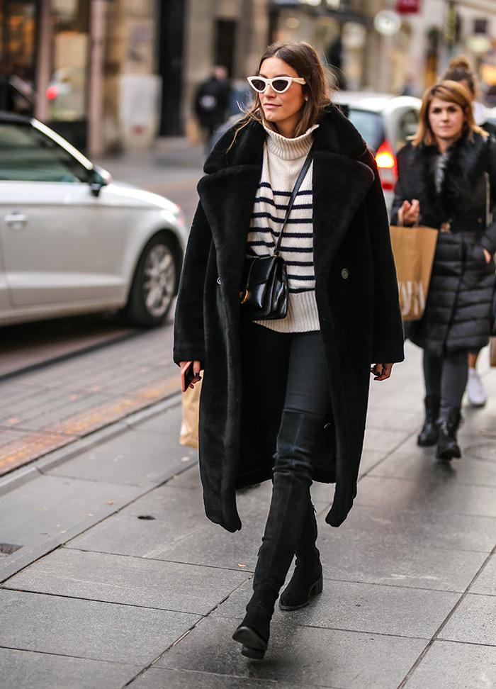Street Style Zagreb moda zima 2019 cna bunda Nika Matić Instagram kako kombinirati dolčevitu čizme preko koljena