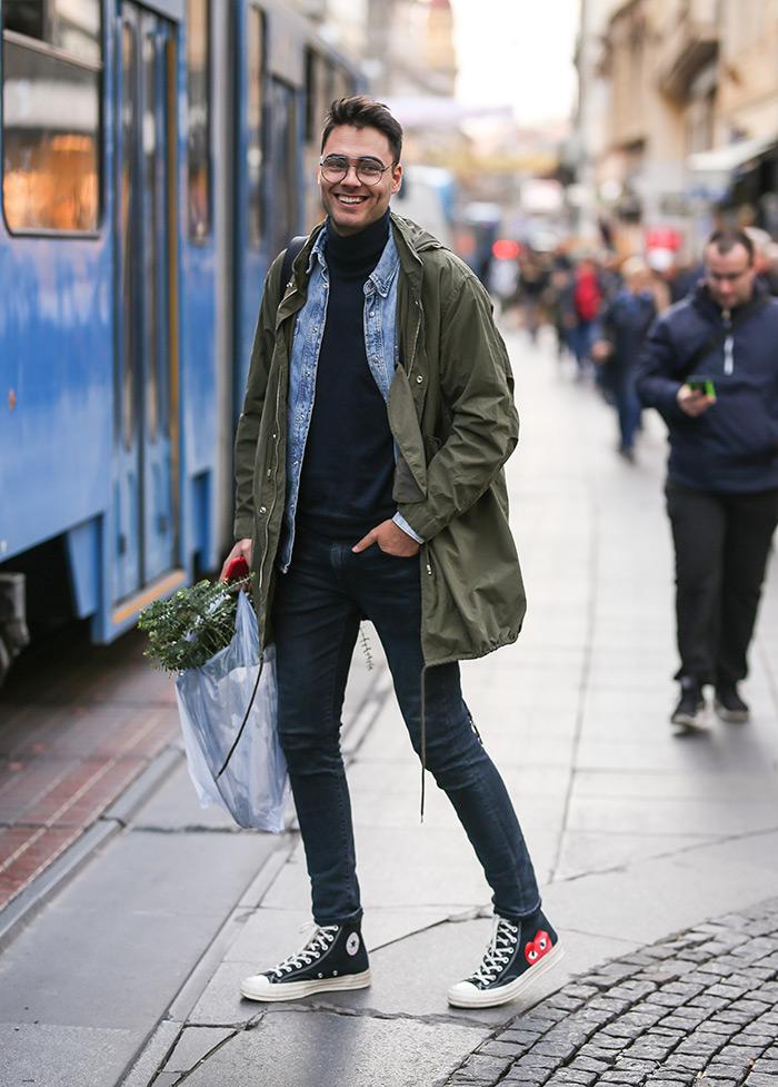 zagrebačka špica street style muška moda hit top tenisice <strong>Marko Medić</strong>, poznatiji kao lifestyle blogger www.instagram.com @ father_of_djordje nosi model tenisica COMME des GARÇONS PLAY x Converse Chuck Taylor All Star '70