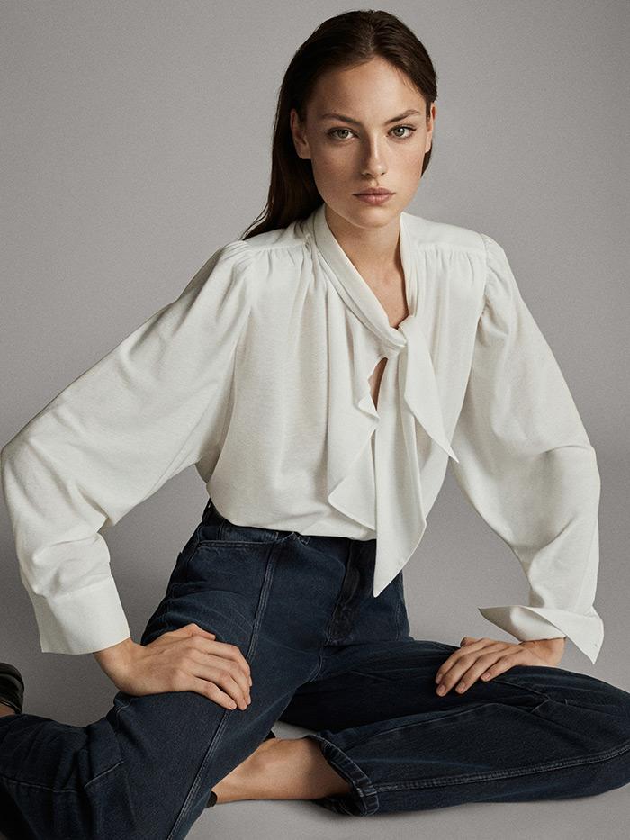 massimo dutti što odjenuti na posao style zagreb bijela košulja na vezanje mašna pussy-bow