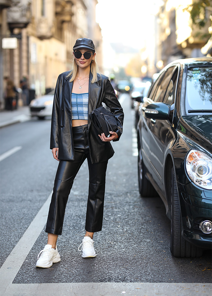 casual odijevanje eko veganska koža moda 2020 Reserved street style Zagreb špica moda stylish cura Lucija Lalić