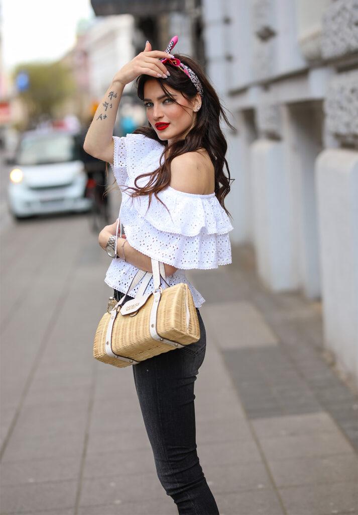 Lorena Dumbović proljenti styling Guess dizjan traperice baloner pencil suknja biciklističke šilterica zagrebačka špica foto Ana Josipović